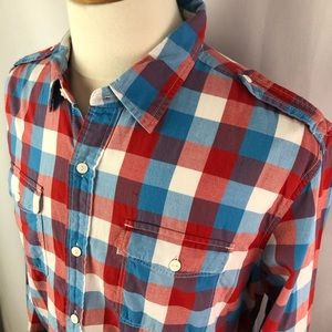 Levis red white blue checkered long sleeves shirt